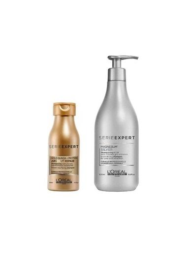 L'oreal Professionnel Loreal Gold Absolut Repair Şampuan 100 Ml+Magnesium Silver Şampuan 500 Ml Renksiz